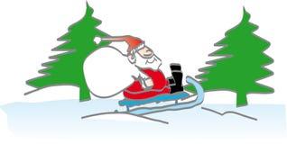 Santa sur un étrier de neige illustration de vecteur
