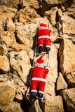 Santa sur un mur image libre de droits