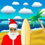 Santa surfer tropical beach royalty free illustration