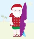 santa surfin royaltyfri illustrationer