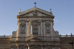 Santa Susanna church in Rome. ROME, ITALY - DECEMBER 30 2014: Architectural close up of Santa Susanna church in Rome, the national church of the United States of Royalty Free Stock Photography