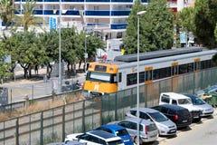 Santa Susanna, Spanje, Augustus 2018 Ochtendtrein in de toevluchtstad stock afbeelding