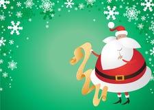 Santa sveglia con i regali su priorità bassa verde Fotografie Stock Libere da Diritti