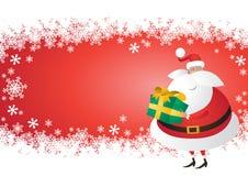 Santa sveglia con il regalo su un fiocco di neve Fotografia Stock Libera da Diritti