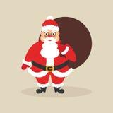 Santa sveglia con la borsa dei regali Carattere per il Natale ed il nuovo anno Progettazione piana moderna Fotografie Stock
