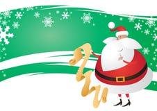 Santa sveglia con la lista su un Backg verde festivo ondulato Fotografie Stock