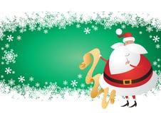 Santa sveglia con la lista su un verde Backgrou del fiocco di neve Immagine Stock
