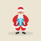 Santa sveglia con la scatola di regalo Carattere per il Natale ed il nuovo anno Progettazione piana moderna Illustrazione di vett Fotografie Stock Libere da Diritti