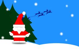 Santa sveglia su fondo blu Immagini Stock Libere da Diritti