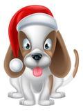 Santa szczeniaka Kapeluszowy pies Zdjęcia Royalty Free