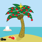 Santa takes a break. Illustration of Santa Claus taking a break and dipping in the water near a tropical island decorated for Christmas Royalty Free Stock Images