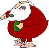 Santa Taking Cough Syrup Royalty Free Stock Photography