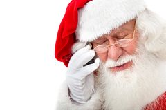 Santa talking on the phone Royalty Free Stock Photography