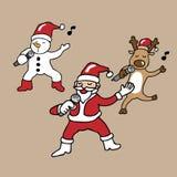 Santa and team singing cartoon Royalty Free Stock Photography