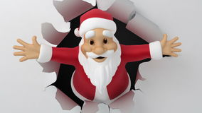 Santa tears the paper. 3d animation with alpha-matte