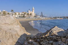 Santa Tecla church in Sitges, Spain Royalty Free Stock Images