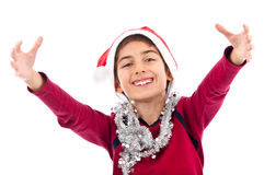 Santa teen in red embrace isolated Royalty Free Stock Photo