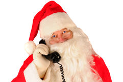 Santa with telephone Royalty Free Stock Photography