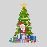 Santa tenant une cloche dans l'avant sur l'arbre de Noël 3d Photographie stock libre de droits