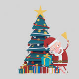 Santa tenant une cloche dans l'avant sur l'arbre vert de Noël 3d Images libres de droits
