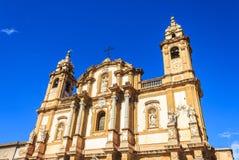 Santa Teresa-de barokke kerk van allakalsa in Palermo, Sicilië, Italië Royalty-vrije Stock Afbeeldingen