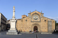 Santa Teresa Square, Front of the Church of San Pedro, main facade stands out its Cistercian rosette, Avila, Spain Royalty Free Stock Images