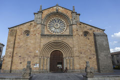 Santa Teresa Square, Front of the Church of San Pedro, main facade stands out its Cistercian rosette, Avila, Spain Stock Image