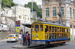Santa Teresa Tram i Rio de Janeiro Arkivfoton