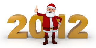 Santa thumbs up 2012. Cartoon Santa Claus giving  thumbs up in front of 2012 numbers - high quality 3d illustration Stock Photos