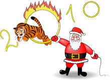 Santa and tiger Stock Photo