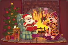 Santa and Tiger. Royalty Free Stock Photo