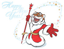 Santa Tiger. Congratulating on New Year, vector illustratiion royalty free illustration