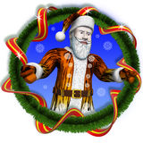 Santa tiger ofcircle christmas tree end t. Santa in tiger fur waving through a circle christmas tree end tape Royalty Free Stock Photos