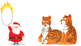 Santa and tigers Royalty Free Stock Photography