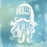 Santa tirée par la main sur le fond brouillé Décorations de Noël Illustration Stock