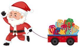 Santa tirant un chariot avec des présents illustration libre de droits