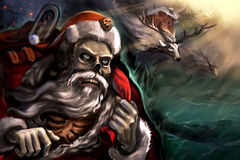 Santa in town - Stock Image. Dead Santa in town with his reindeers. Celebrating the new year Stock Image