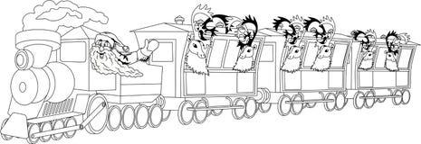 Santa on train Royalty Free Stock Photography