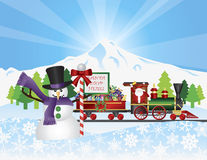 Santa on Train With Snow Scene Royalty Free Stock Photography
