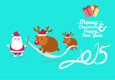 Santa training reindeer jumping across 2015 ribbon. Happy New Year and merry christmas 2015. vector illustration Stock Images