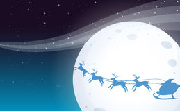 Santa travelling with his reindeers. Illustration of Santa travelling with his reindeers Royalty Free Stock Image
