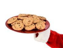 Santa Tray Cookies Over White Imagen de archivo libre de regalías