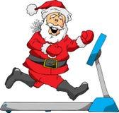Santa on a Treadmill. A Cartoon of Santa Running on a Treadmill Stock Image