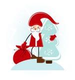 Santa with tree. And gift Royalty Free Stock Photos
