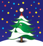 Santa Tree. Christmas tree with the features of Santa Claus staring at night sky Royalty Free Stock Photos