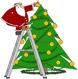 Santa trimming the tree. This illustration depicts Santa Claus on a ladder placing a star at the top of a decorated Christmas tree Royalty Free Stock Photo