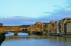 Santa Trinita bridge. Florence Italy, Santa Trinita bride. Beautiful old bridge on Aron River Royalty Free Stock Images
