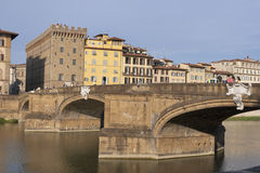 Santa Trinita bridge over Arno River in Florence Royalty Free Stock Photo