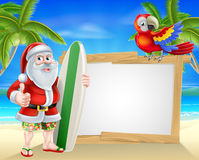 Santa tropical beach sign Stock Images