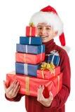 Santa trouxe presentes de Natal e sorriso do divertimento Isolado no fundo branco Imagens de Stock Royalty Free